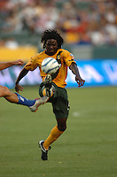 Los Angeles Galaxy's Ugo Ihemelu kicks the ball in the first half at the Home Depot Center in Carson, CA on Saturday, July 16, 2005..(Matt A. Brown/ISI)