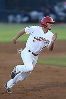 Gunnar Heidt (2) of the Vancouver Canadians runs the bases during a game against the Tri-City Dust Devils at Nat Bailey Stadium on July 23, 2015 in Vancouver, British Columbia. Tri-City defeated Vancouver, 6-4. (Larry Goren/Four Seam Images)