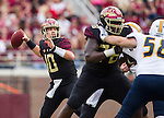 Florida State quarterback Sean Maguire throws a 33 yard pass in the first half of an NCAA college football game against Chattanooga in Tallahassee, Fla., Saturday, Nov. 21, 2015.  (AP Photo/Mark Wallheiser)