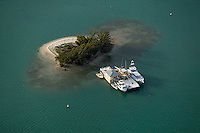 aerial photograph boats docked at small island Biscayne Bay  Miami, Florida