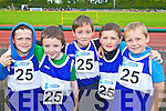 Pictured at the Kerry Community Games finals at Castleisland on Saturday were from Ballylongford pictured from left  Owen O'Neill, Bobby McCarron, Brendan Kennelly, Liam Connelly and Darragh Healy. .