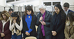 Archbishop Antje Jackelen of the Church of Sweden leads displaced Christians in prayer during an encounter with an ecumenical delegation on January 23, 2017. The delegation, sponsored by the World Council of Churches, met with displaced persons in Ankawa, in northern Iraq's Kurdistan region.