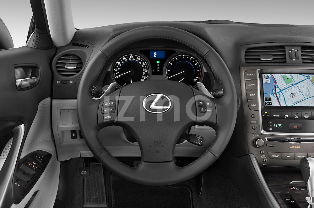 Steering wheel view of a 2009 Lexus IS 350