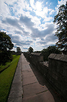 Walking along the York wall.