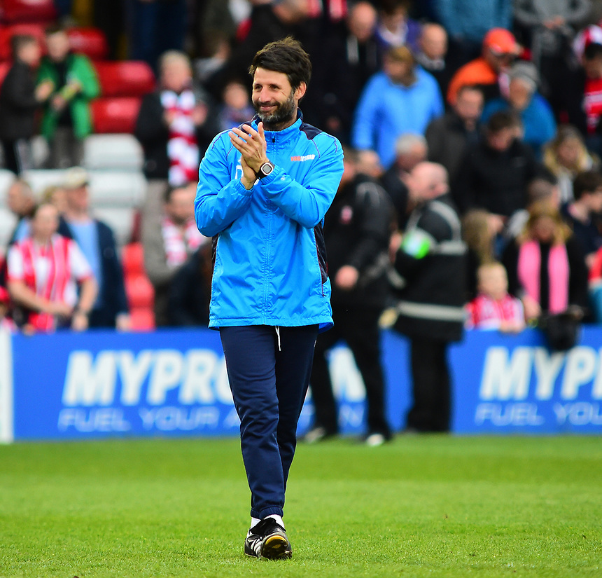 Lincoln City manager Danny Cowley applauds the fans at the end of the game<br /> <br /> Photographer Andrew Vaughan/CameraSport<br /> <br /> Vanarama National League - Lincoln City v Chester - Tuesday 11th April 2017 - Sincil Bank - Lincoln<br /> <br /> World Copyright &copy; 2017 CameraSport. All rights reserved. 43 Linden Ave. Countesthorpe. Leicester. England. LE8 5PG - Tel: +44 (0) 116 277 4147 - admin@camerasport.com - www.camerasport.com