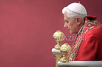 Pope Benedict XVI prayer on the eve of his interreligious talks of Assisi,on Vatican.October 26,2011