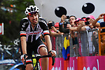 Tom Dumoulin (NED) Team Sunweb crosses the finish line of Stage 19 of the 2018 Giro d'Italia, running 185km from Venaria Reale to Bardonecchia featuring the Cima Coppi of this Giro, the highest climb on the Colle delle Finestre with its gravel roads, before finishing on the final climb of the Jafferau, Italy. 25th May 2018.<br /> Picture: LaPresse/Gian Mattia D'Alberto | Cyclefile<br /> <br /> <br /> All photos usage must carry mandatory copyright credit (&copy; Cyclefile | LaPresse/Gian Mattia D'Alberto)