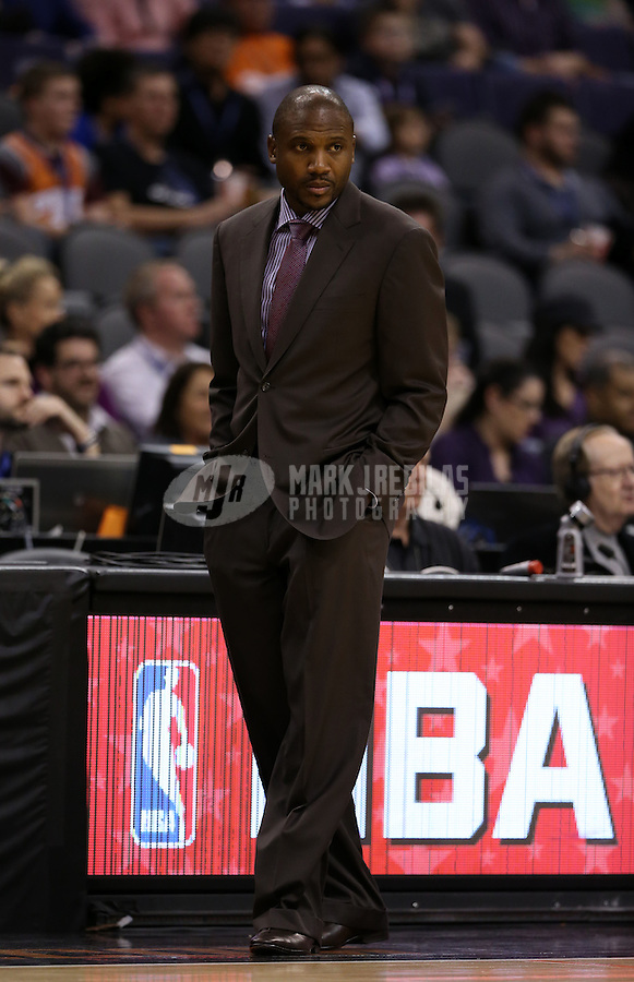 Jan. 24, 2013; Phoenix, AZ, USA: Phoenix Suns interim head coach Lindsey Hunter against the Los Angeles Clippers at the US Airways Center. The Suns defeated the Clippers 93-88. Mandatory Credit: Mark J. Rebilas-USA TODAY Sports