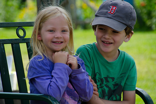 Story time at the community garden camp, Yarmouth ME, USA