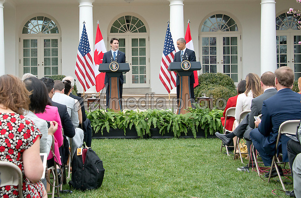 United States President Barack Obama, right, and Prime Minister Justin Trudeau of Canada, left, hold a joint press conference in the Rose Garden of the White House in Washington, DC on Thursday, March 10, 2016. Photo Credit: Ron Sachs/CNP/AdMedia