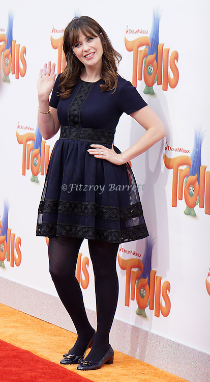 Zooey Deschanel arriving at the Los Angeles premiere of Trolls held at the Regency Village Theater Westwood, CA. October 23, 2016.