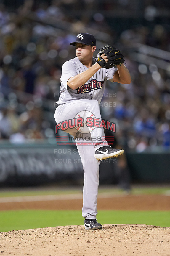Scranton/Wilkes-Barre RailRiders relief pitcher Rex Brothers (63) in action against the Charlotte Knights at BB&T BallPark on August 14, 2019 in Charlotte, North Carolina. The Knights defeated the RailRiders 13-12 in ten innings. (Brian Westerholt/Four Seam Images)