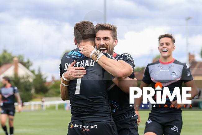 William Barthau of London Broncos (7) celebrates after he scores a try during his 50th appearance for London Broncos during the Kingstone Press Championship match between London Broncos and Featherstone Rovers at Castle Bar , West Ealing , England  on 25 June 2017. Photo by David Horn.