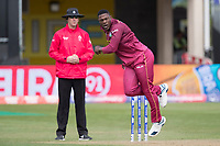 Sheldon Cottrell (West Indies) in action during West Indies vs New Zealand, ICC World Cup Warm-Up Match Cricket at the Bristol County Ground on 28th May 2019
