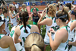 RICHMOND, VA - APRIL 27: Notre Dame head coach Christine Halfpenny (center) talks to her players before the game. The Notre Dame Fighting Irish played the Boston College Eagles on April 27, 2017, at Sports Backers Stadium in Richmond, VA in an ACC Women's Lacrosse Tournament quarterfinal match. Boston College won the game 17-14.