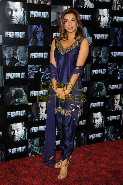 Shobna Gulati.UK premiere of 'Four' at The Empire Cinema - Arrivals, London, England..October 10th, 2011.full length blue purple dress .CAP/CJ.©Chris Joseph/Capital Pictures.