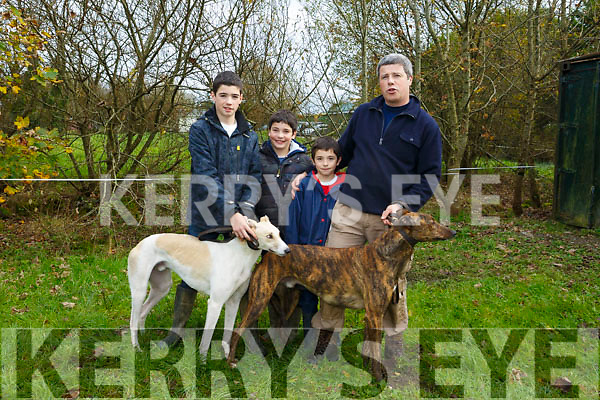 Tadhg O'Connor, Joe O'Connor, Paul O'Connor, Tom O'Connor with BIBI Eight and Scartview Sam at the 58th Island Cup meeting of the Castleisland coursing Club on Monday