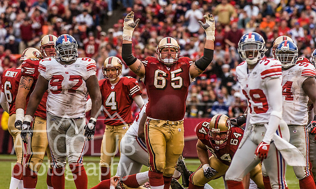 San Francisco 49ers guard Justin Smiley (65) celebrates good kick on Sunday, November 6, 2005, in San Francisco, California. The Giants defeated the 49ers 24-6.