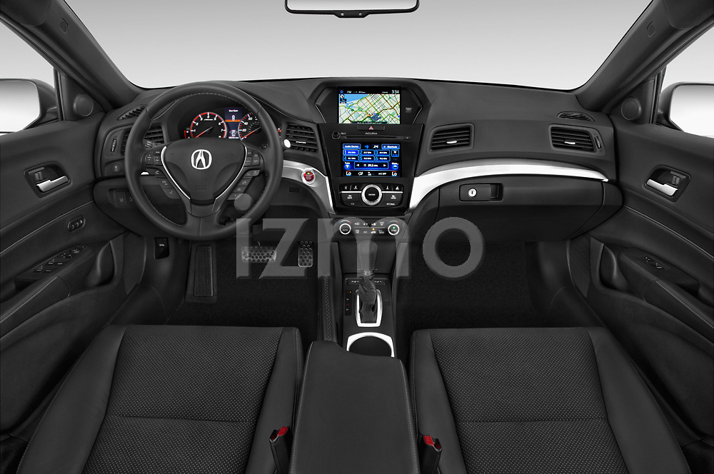 Stock photo of straight dashboard view of 2017 Acura ilx Tech Plus and A Spec Package 4 Door Sedan