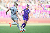 Orlando, FL - Sunday May 14, 2017: Abby Dahlkemper, Kristen Edmonds during a regular season National Women's Soccer League (NWSL) match between the Orlando Pride and the North Carolina Courage at Orlando City Stadium.