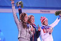 OLYMPICS: SOCHI: Medal Plaza, 15-02-2014, Skeleton, Women, Noelle Pikus-Pace (USA), Elizabeth Yarnold (GBR), Elena Nikitina (RUS), ©photo Martin de Jong