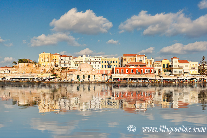 Chania's Venetian Harbour with the magnificent architecture was built in the 14th century in Crete, Greece