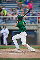 Beloit Snappers center fielder Mickey McDonald (4) follows through on a swing during a game against the Dayton Dragons on July 22, 2018 at Pohlman Field in Beloit, Wisconsin.  Dayton defeated Beloit 2-1.  (Mike Janes/Four Seam Images)