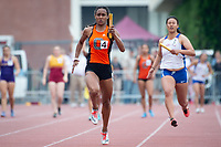 The Occidental College men's and women's track and field teams compete in the 2019 Southern California Intercollegiate Athletic Conference (SCIAC) Track and Field Championships at the Claremont-Mudd-Scripps Burns Track Complex in Claremont, Calif. on Sunday, April 28, 2019.<br /> After the two-day SCIAC Championships CMS scored 211.50 points, followed by Pomona-Pitzer (171.50), Redlands (114), Occidental (92.50), Whittier (57.50), La Verne (54), Cal Lutheran (48), Chapman (23) and Caltech (4).