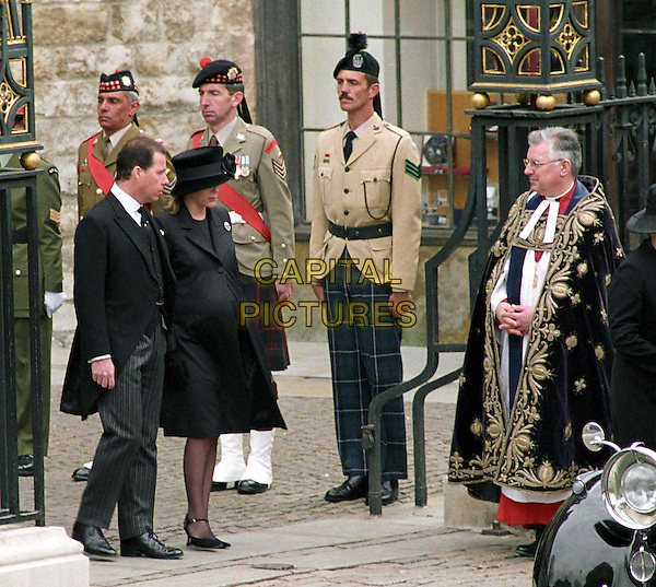 VISCOUNT LINLEY & SERENA LINLEY..Guests at the funeral of HM the Queen Mother..full length, full-length, royalty..www.capitalpictures.com..sales@capitalpictures.com..©Capital Pictures