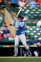 Tampa Bay Rays second baseman Nick Solak (85) at bat during a Grapefruit League Spring Training game against the Baltimore Orioles on March 1, 2019 at Ed Smith Stadium in Sarasota, Florida.  Rays defeated the Orioles 10-5.  (Mike Janes/Four Seam Images)