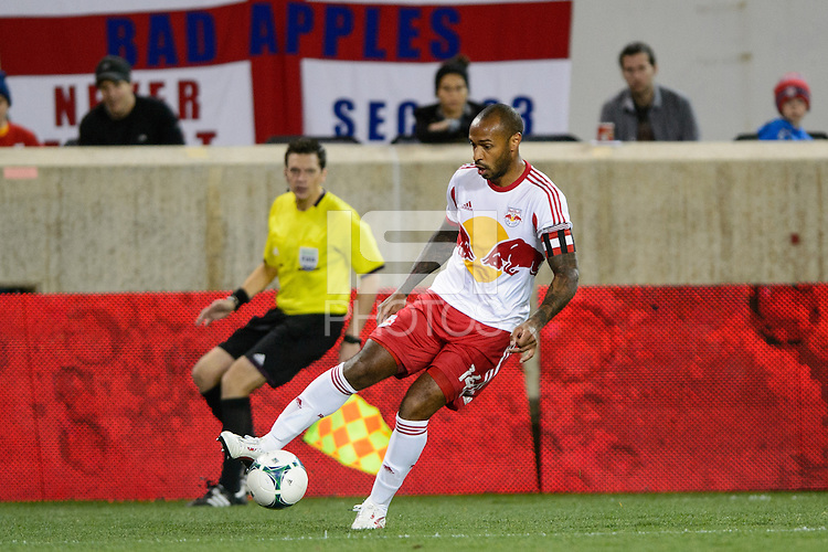 Thierry Henry (14) of the New York Red Bulls. The Houston Dynamo defeated the New York Red Bulls 2-1 (4-3 on aggregate) in overtime of the second leg of the Major League Soccer (MLS) Eastern Conference Semifinals at Red Bull Arena in Harrison, NJ, on November 6, 2013.