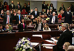 Nevada Supreme Court Chief Justice James Hardesty administers the oath of office to Assembly members during opening day ceremonies at the Legislative Building in Carson City, Nev., on Monday, Feb. 2, 2015. (Cathleen Allison/Las Vegas Review-Journal)