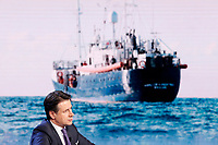 Giuseppe Conte and on the video ships carrying migrants<br /> Rome January 8th 2019. The Italian Prime Minister appears as a guest on the tv show Porta a Porta<br /> Foto Samantha Zucchi Insidefoto