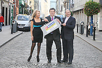 16/9/2010. THE APPRENTICE Launch. Jackie Lavin, Bill Cullen and Brian Purcell  are pictured in Temple Bar for the launch of the third run in the multi award winning series, THE APPRENTICE. Starting September 20th 2010 on TV3. Picture James Horan/Collins Photos
