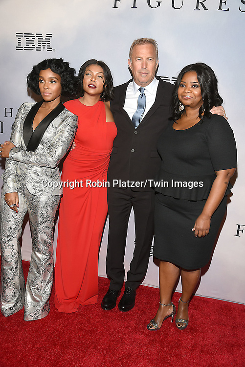 Janelle Monae, Taraji P Henson, Kevin Costner and  Octavia Spencer attend &quot;Hidden Figures&quot; Special Screening on December 10, 2016 at SVA Theatre in New York, New York, USA.<br /> <br /> photo by Robin Platzer/Twin Images<br />  <br /> phone number 212-935-0770