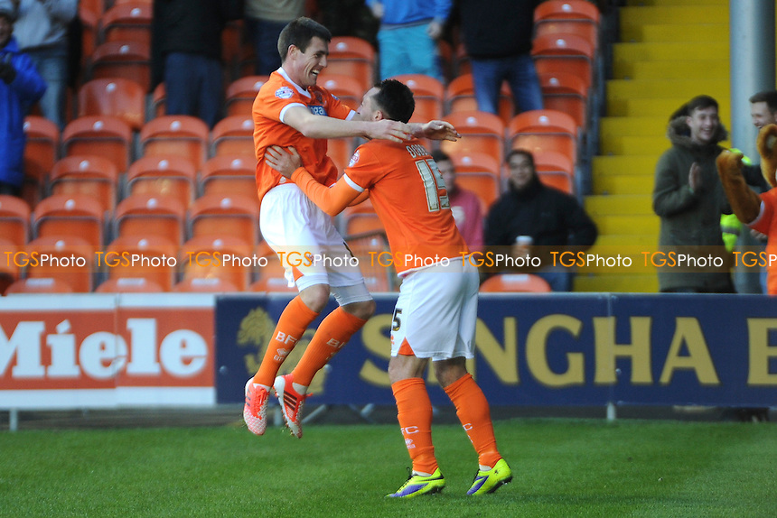 Bobby Grant of Blackpool and Stephen Dobbie celebrate the opener - Blackpool vs Ipswich Town - Sky Bet Championship Football at Bloomfield Road, Blackpool, Lancashire - 09/11/13 - MANDATORY CREDIT: Greig Bertram/TGSPHOTO - Self billing applies where appropriate - 0845 094 6026 - contact@tgsphoto.co.uk - NO UNPAID USE