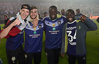 Joie -  RSC Anderlecht - Champion saison 2016 2017  <br /> <br /> Lukasz Teodorczyk forward of RSC Anderlecht and Massimo Bruno midfielder of RSC Anderlecht and Frank Acheampong forward of RSC Anderlecht  celebrates  <br /> Anderlecht Campione del Belgio <br /> Jupiter League 20162017 <br /> Foto PhotoNews/Panoramic/Insidefoto<br /> ITALY ONLY