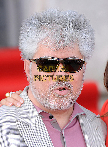 "PEDRO ALMODOVAR .Attending the UK Film Premiere of ""Broken Embraces"" (Los Abrazos Rotos) at Somerset House, London, England, UK, July 30th 2009..portrait headshot beard facial hair  sunglasses red shirt t-shirt grey gray blazer jacket gingham checked check mouth open .CAP/BEL.©Tom Belcher/Capital Pictures"