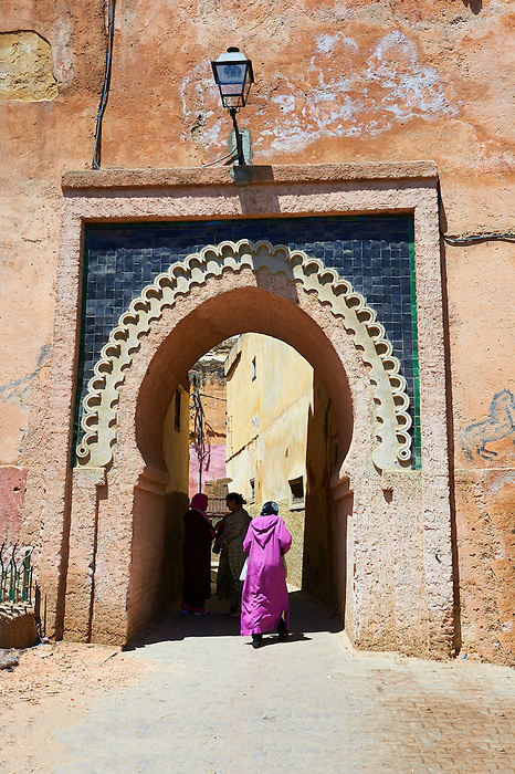 Decorated Arabesque Berber  and entrance to the Medina. A UNESCO World Heritage Site .Meknes, Meknes-Tafilalet, Morocco.