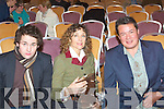WINNERS: Rebecca Millar writer who was presented with the Maureen O'Hara Trophy at the Samhai?ocht Film Festival award ceremony in Fels Point Hotel, Tralee on Saturday l-r: Gerard Barret (The Valley of Knockanure), Rebecca Miller and James Christopher...