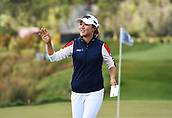 30th September 2017, Windross Farm, Auckland, New Zealand; LPGA McKayson NZ Womens Open, third round;  New Zealand's Lydia Ko sinks a birdie putt on the 18th and waves to fans