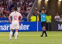 LYON,  - JULY 2: Edina Alves Batista calls for VAR during a game between England and USWNT at Stade de Lyon on July 2, 2019 in Lyon, France.