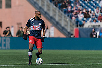 FOXBOROUGH, MA - MARCH 7: Andrew Farrell #2 of New England Revolution looks to pass during a game between Chicago Fire and New England Revolution at Gillette Stadium on March 7, 2020 in Foxborough, Massachusetts.
