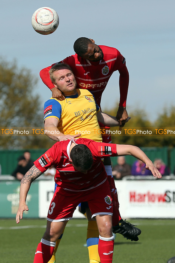 Ibrahima Sonko and Layne Eadie of Harlow Town and Dave Collis of AFC Hornchurch during Harlow Town vs AFC Hornchurch, Ryman League Divison 1 North Play-Off Final Football at The Harlow Arena on 1st May 2016
