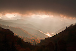 Breaking autumn storm at sunrise, Oconaluftee Valley, Great Smoky Mountains National Park
