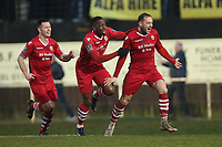 Arthur Lee of Hornchurch scores the second goal for his team and celebrates with his team mates during Hornchurch vs Merstham, BetVictor League Premier Division Football at Hornchurch Stadium on 15th February 2020