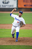 Bernardo Reyes (44) of the Ogden Raptors delivers a pitch to the plate against the Grand Junction Rockies in Pioneer League action at Lindquist Field on July 6, 2015 in Ogden, Utah. Ogden defeated Grand Junction 8-7. (Stephen Smith/Four Seam Images)