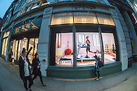 The Topshop Topman store in Soho in New York promotes Ivy Park, Beyoncé's line of athleisure wear, with a large window display containing an illuminated billboard showing a promotional video, seen on Tuesday, April 26, 2016. Residents of Soho and the Business Improvement District are complaining that the illuminated sign is not appropriate for the neighborhood. (© Richard B. Levine)
