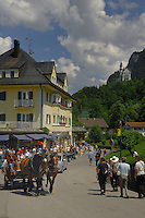 Two horses pulling cart, that will transport tourists up the hill to Neuschwanstein castle.  Neuschwanstein, Bavaria, Germany.