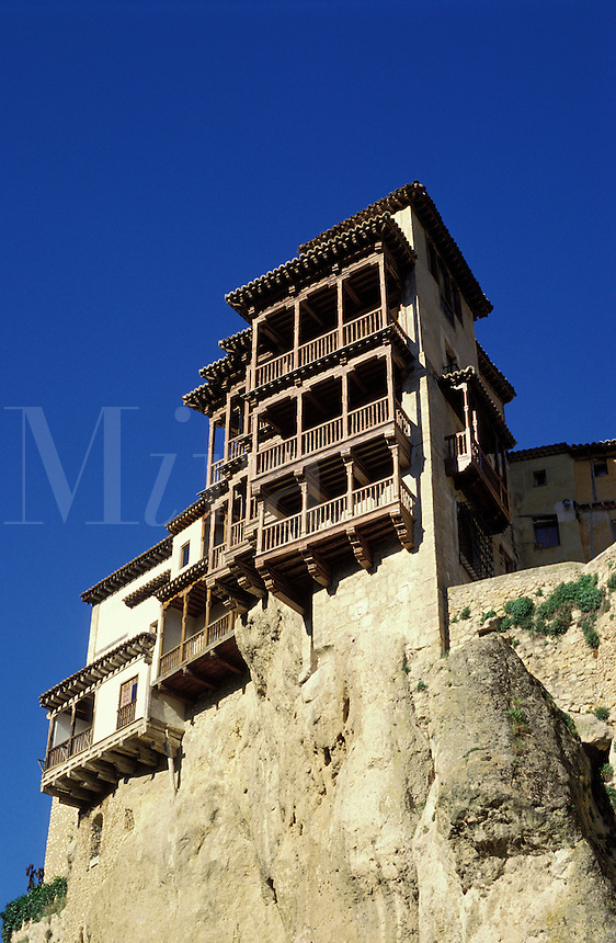 Cuenca, Spain.  Hanging houses.  Ancient houses built on the edge of a cliff in the heart of this attractive Castilian town.